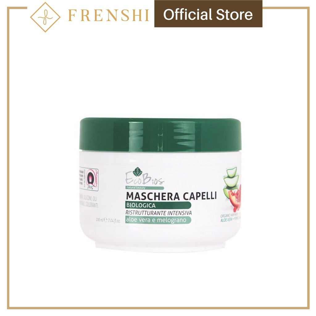Frenshi EcoBios Hair Mask (Made in Italy) - ECOBIOS ORGANIC HAIR MASK INTENSIVE RESTRUCTURING ALOE +POMEGRANATE 200ML