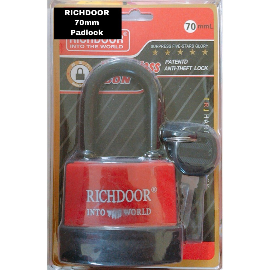 RICHDOOR Long Anti Theft Padlock Laminated Waterproof Padlock Weather Resistant Out Door Padlock 70mm