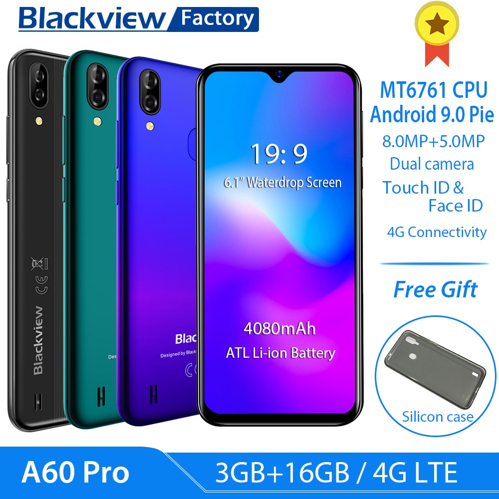 Blackview A60 Pro 4G LTE 6 088inch Waterdrop Screen Android 9 0 Quad Core  3GB RAM 16GB ROM Dual Camera Mobile phone