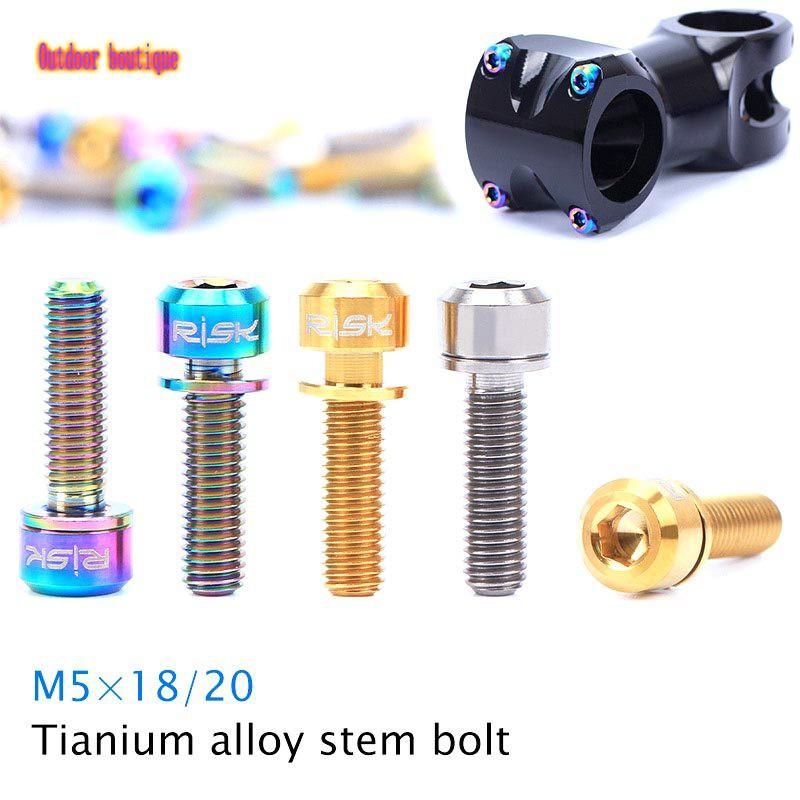 Ti Bolts For Stem Blue Titanium M5 x 16mm 6 pcs Taper Head