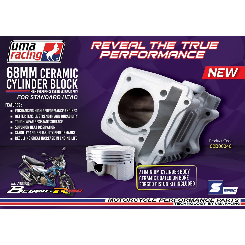 UMA RACING 68MM CERAMIC BLOCK KIT BELANG 150