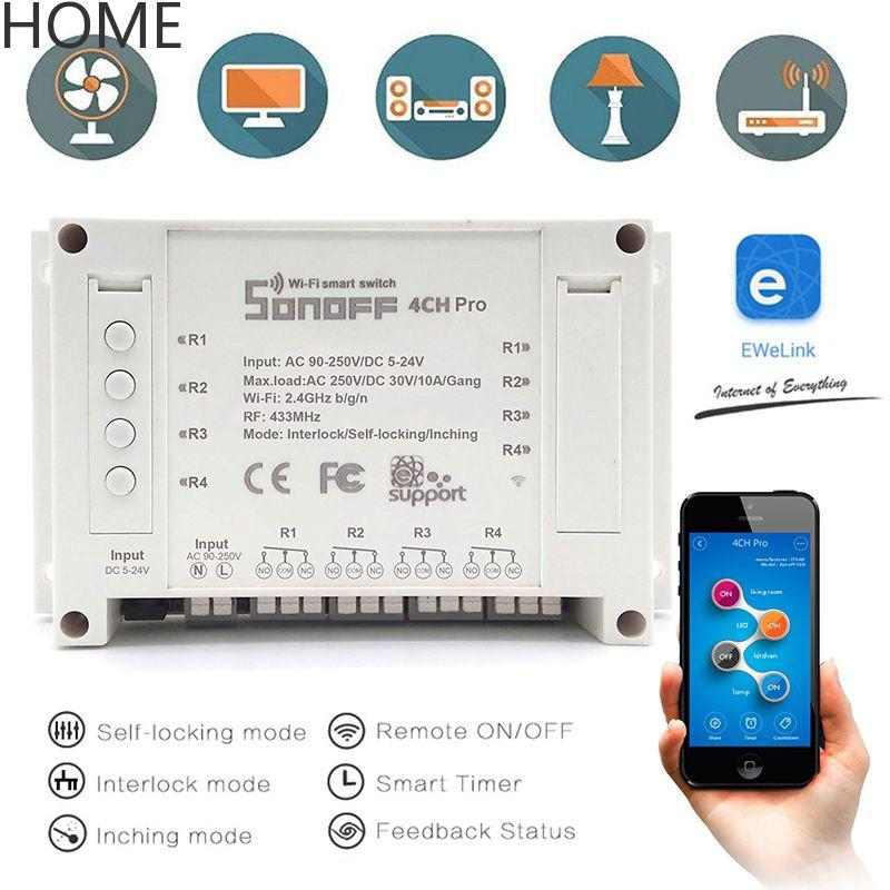 HOME Sonoff 4 Channel WIFI Smart Timer Switch Home Light Remote Control