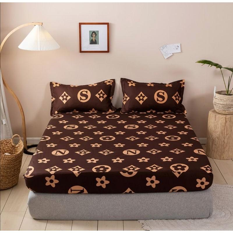 Set Cadar Getah Sarung Bantal Fitted Queen Bedsheet with Pillowcase