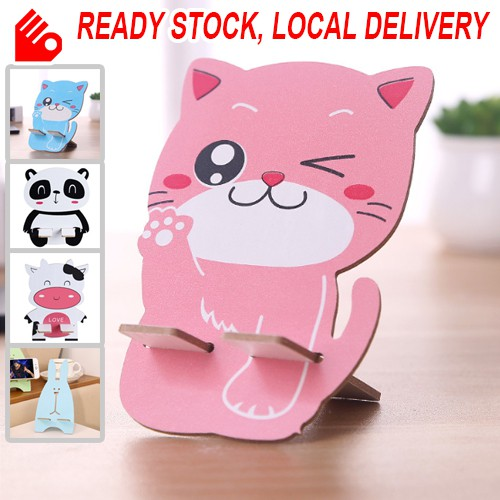 Cute Animals Wooden Mobile Phone Holder Cellphone Multi Function Stand Disassemble Portable