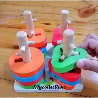 Wooden Geometric four columns building blocks kid toys baby toys education 4 columns