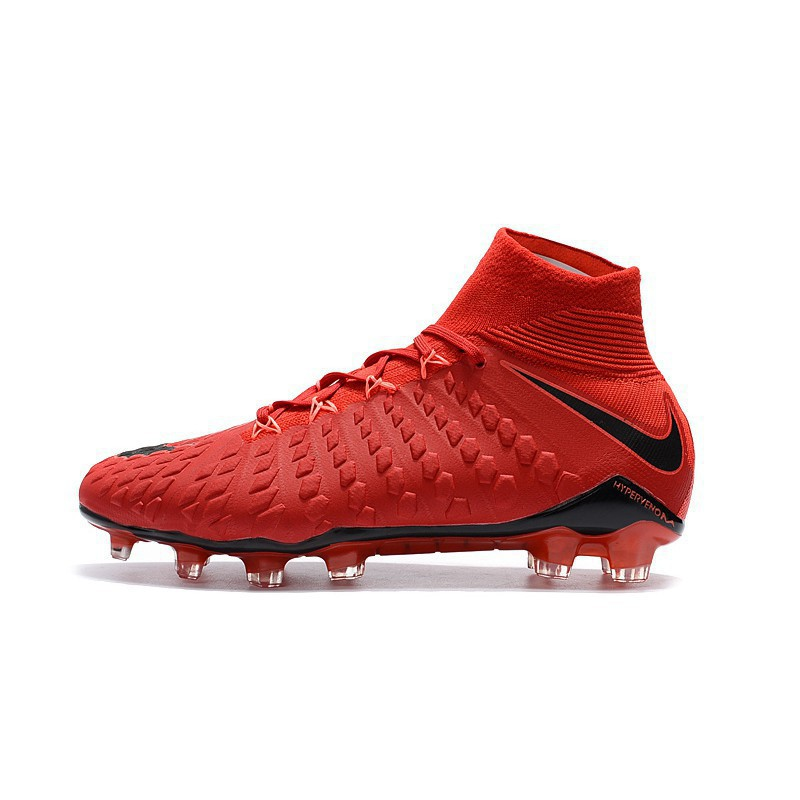 finest selection 34998 b8bad nike Hypervenom Phantom III DF FG all red high mesh soccer football shoes  39-45