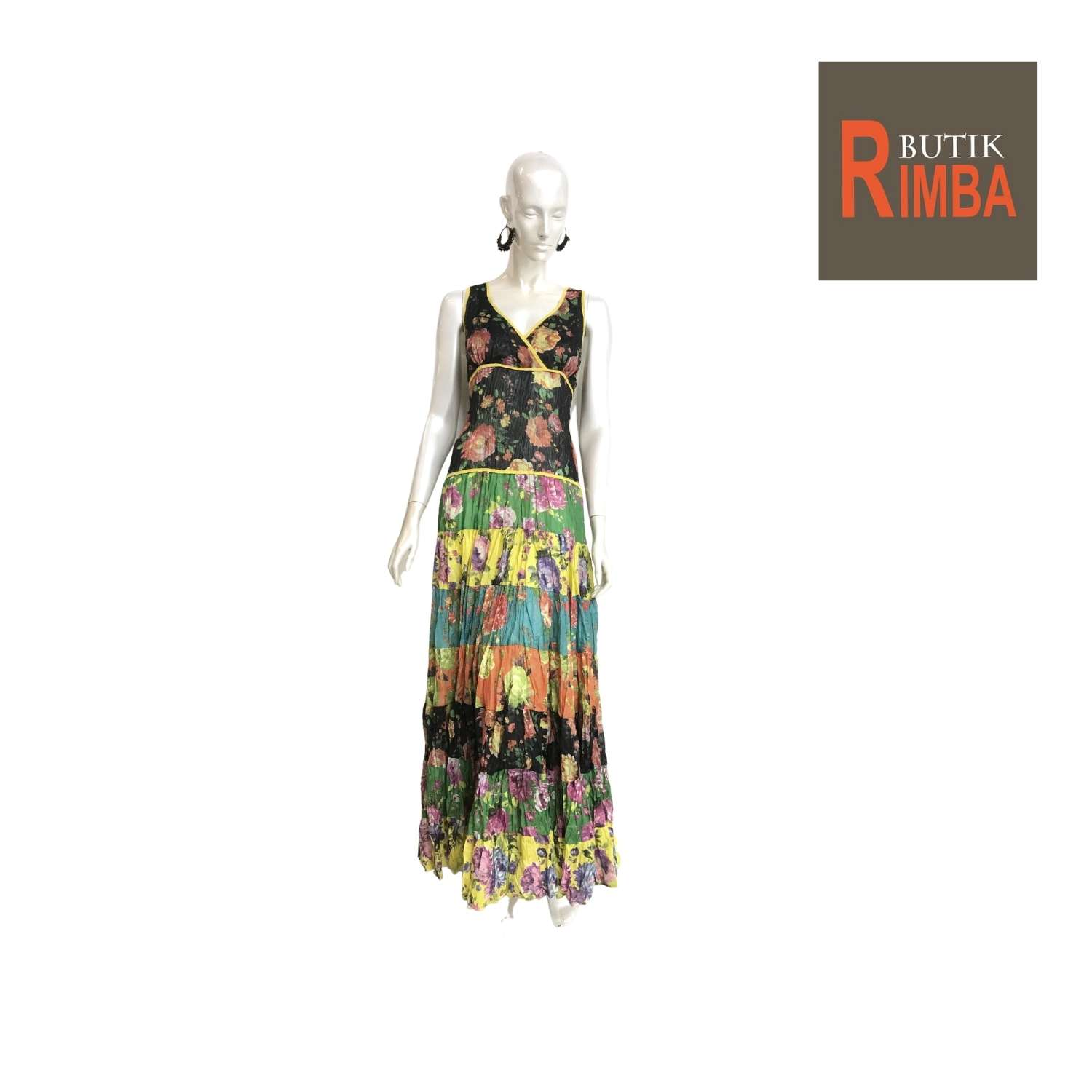 WOMEN FLORAL PRINTED MAXI SLEEVELESS DRESS COTTON FABRIC AND BEACH DRESS 03