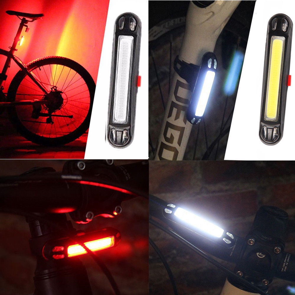 USB Rechargeable 5 Mode LED Bike Bicycle Cycling Front Rear Tail Light Back Lamp
