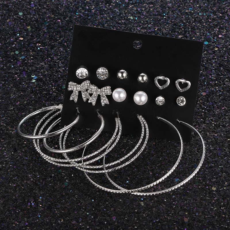 8b9d1c9dcc26d SPE New Korean Earrings Butterfly-knot Loving Loop Earrings Exaggerated  Pearl Water Drill Ear Nail Set