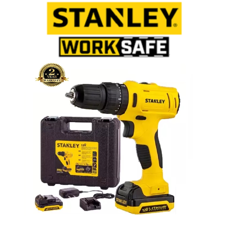 READY STOCK!!!STANLEY SCD121S2K-B1 12V CORDLLES 10MM DRILL DRIVER WITH 2PCS BATTERIES 1PCS CHARGER EASY USE SAFETY GOOD