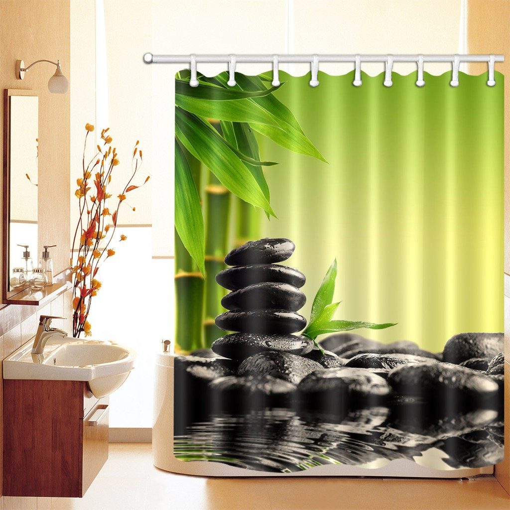 Bamboo And Spa Stones Waterproof Bathroom Polyester Fabric Shower Curtain Hooks