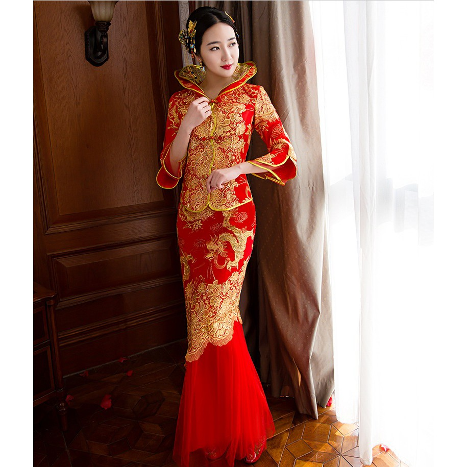 06de2a09a10b7 BEAUNIQUE Bride Traditions Chinese Traditional Wedding Dress Women Phoenix  Embroidery Cheongsam Red Qipao Long Oriental