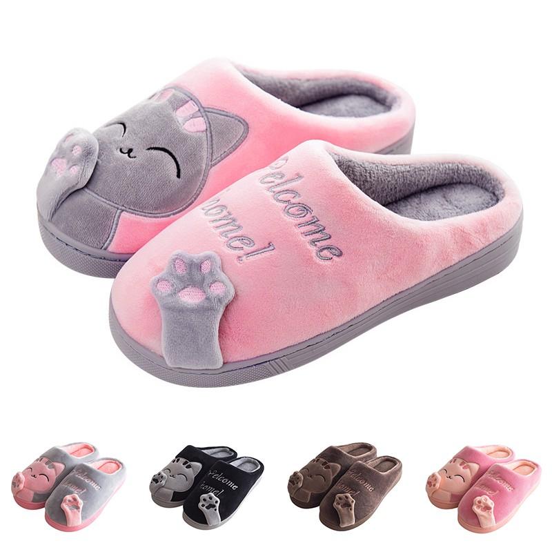 รองเท้าสลิปเปอร์ ป้องกันการลื่น พิมพ์ลายแมว สำหรับผู