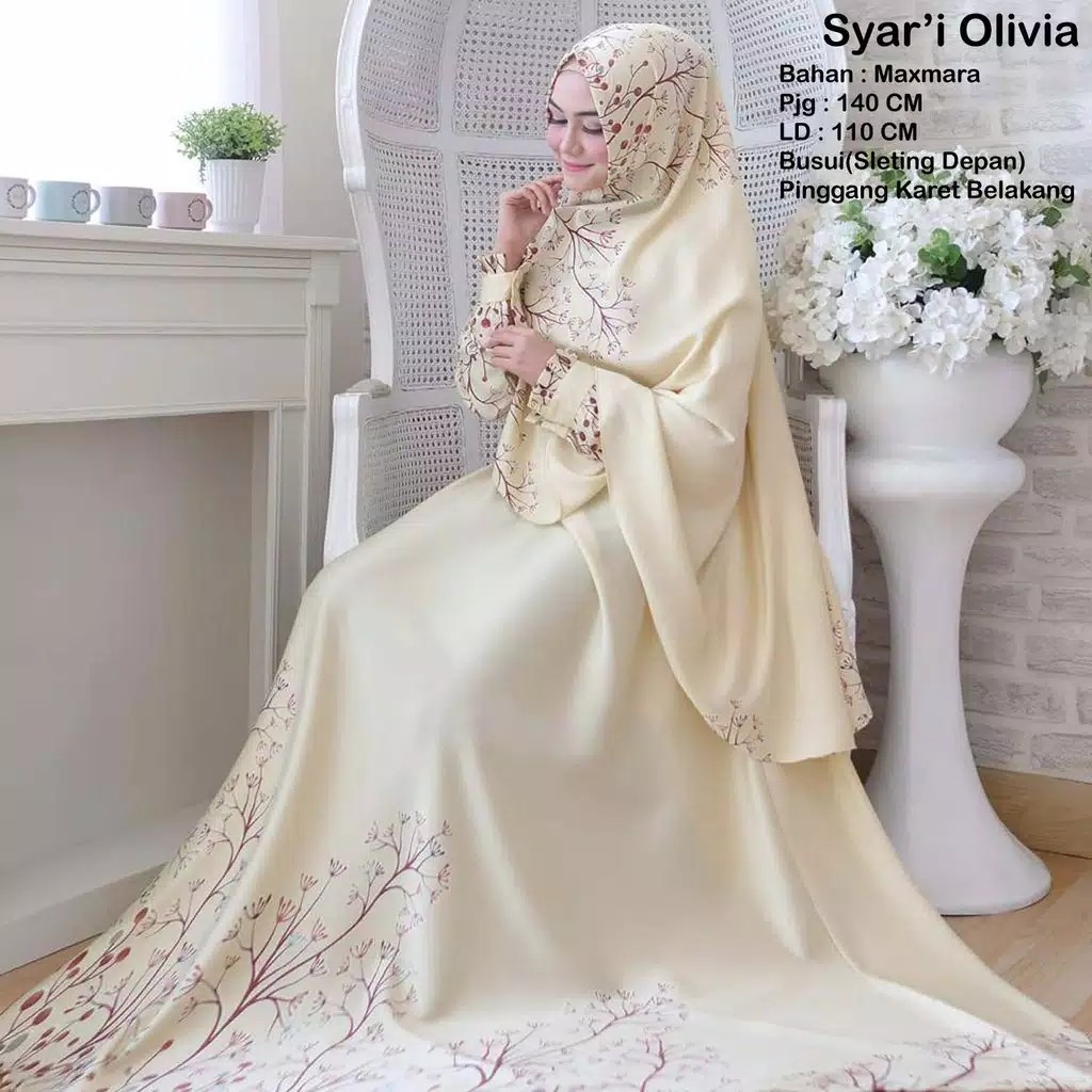 PO Muslimah long sleeve AB Olivia set syari tudung dress pink green blue  cream