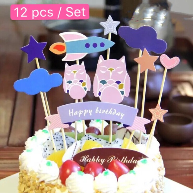 Terrific Ready Stock 12Pcs Cute Owl Star Rocket Cake Topper Shopee Malaysia Personalised Birthday Cards Sponlily Jamesorg