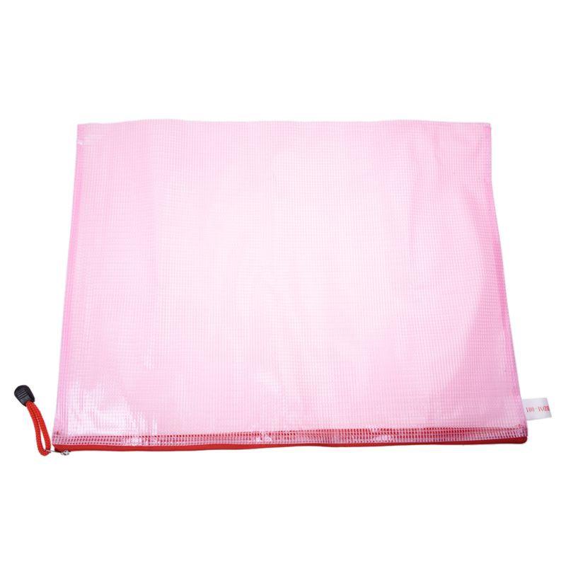 10 Pcs Netting Surface A3 Document File Holder Zipper Bag Multicolor M1