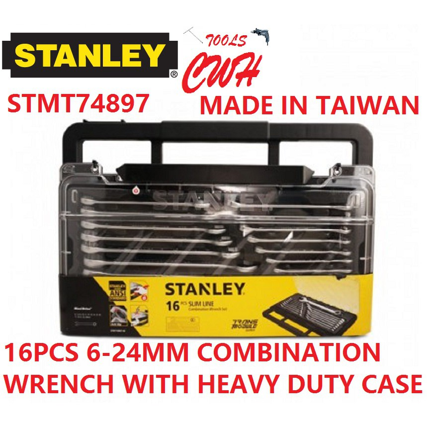 TAIWAN MADE 74-897 6-24MM STANLEY 16PCS COMBINATION WRENCH MODULE SET SOCKET NUT DRIVER STMT74897-8C 74897 STMT74-897