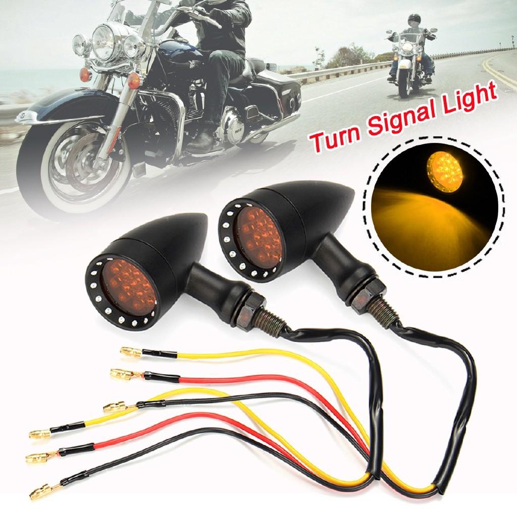 2 pcs//pair Keenso Universal Motorbike Indicator Lamp Amber Light Front Rear Blinker Indicator Light Black Shell 12V Motorcycle Flush Mount LED Turn Signal Light