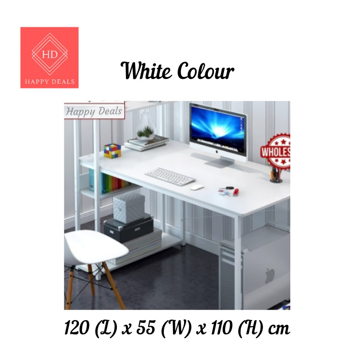 Happy Deals DIY Modern Home & Office Computer Laptop Desk Table With Book Shelves