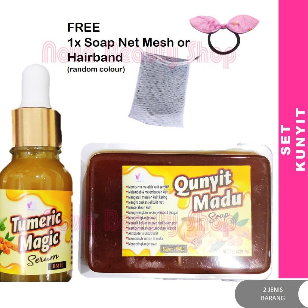 ORIGINAL 100% FROM HQ Skincare Kunyit Qunyit Madu Soap (60g) + Tumeric Magic Serum Susuk Manja SME