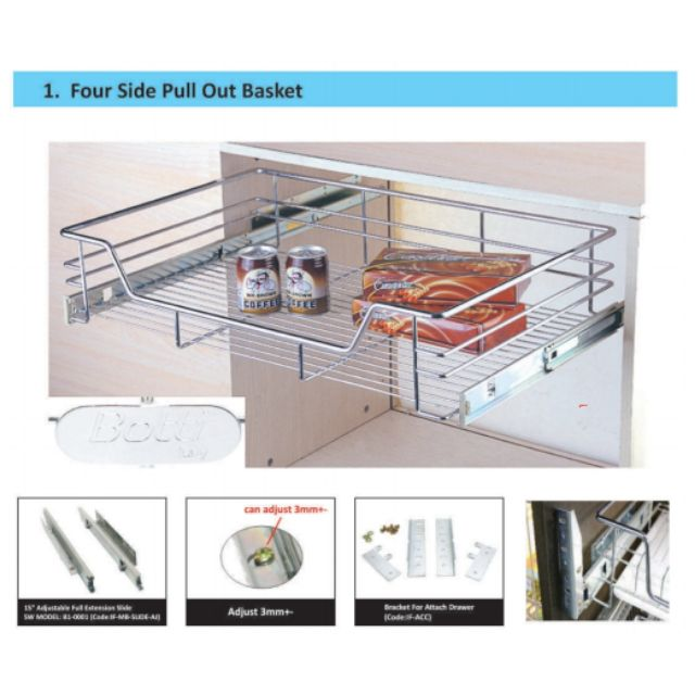 400mm 900mm Steel Kitchen Cabinet Pull Out Basket Shopee Malaysia