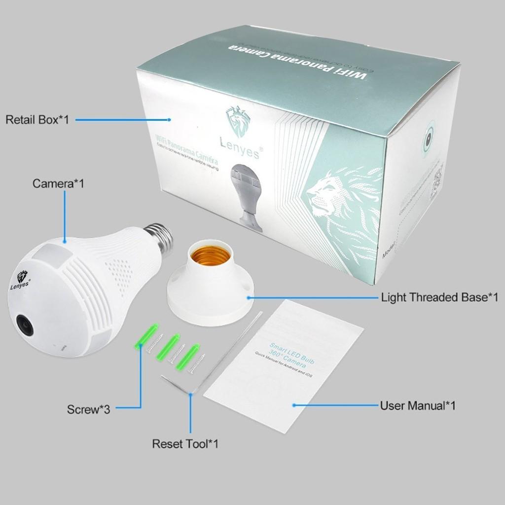360 Degree IP Camera Bulb Security Wifi Spy Double Light Fish Eye