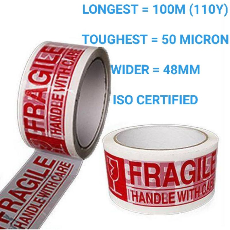 """[PREMIUM] FRAGILE OPP TAPE """"100M (110Y) x 50 MICRON x 48MMM"""" (ISO CERTIFIED) - 1PC"""