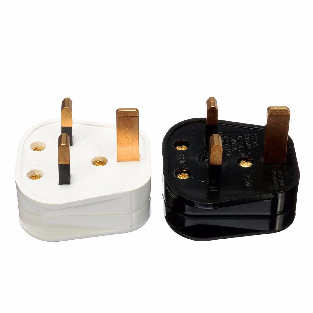 3 Pin UK Plug Mains Top 13A 13 AMP Appliance Power Socket Fuse Adapter Black