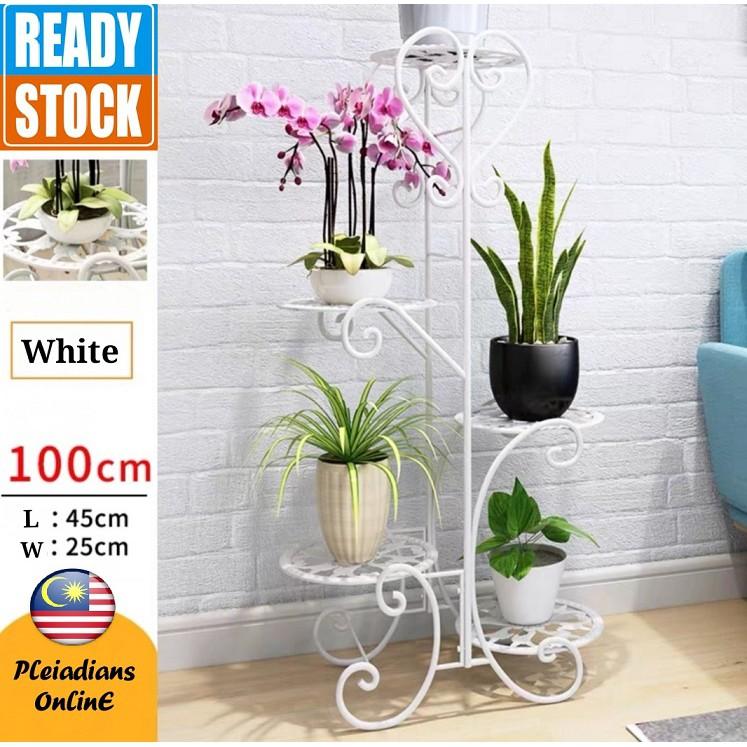 [ READY STOCK ]  Wrought Iron Nordic Flower Solid Wood Flowerpot Indoor Floor Type Bunga Perabut Jualan Murah Furniture