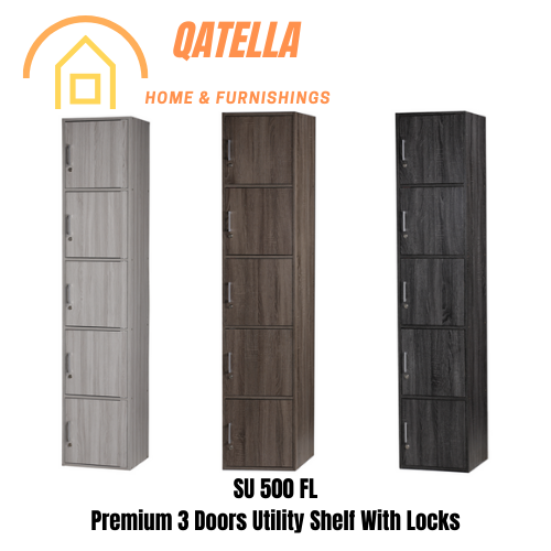 Qatella DIY 5 Kotak Office Cabinet (ADA LOCK) H195cm W40cm D39cm/Utility Shelf/Storage Cabinet/Buku Cabinet(SU 500)