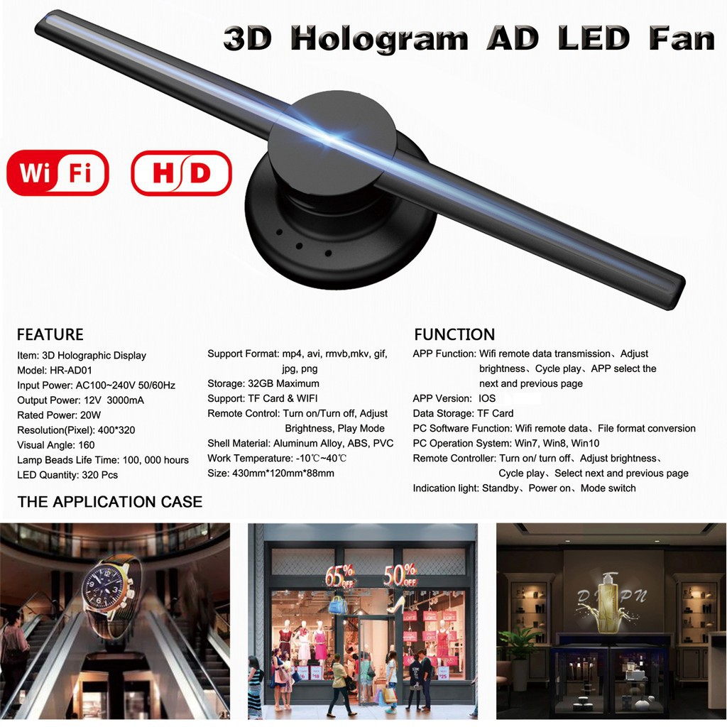 💝Best💝WIFI 42cm 3D Holographic Projector Display Fan LED Hologram Player  Lamp Advertis