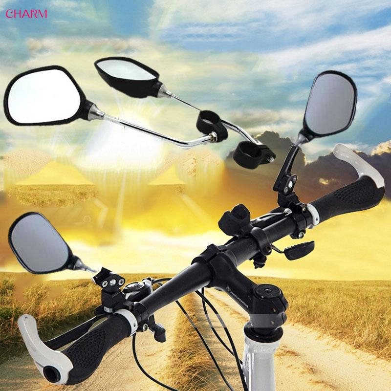 1 Pair Large Glass Bicycle Mirror Handlebar Mount Rearview End Rear Bike Cycling