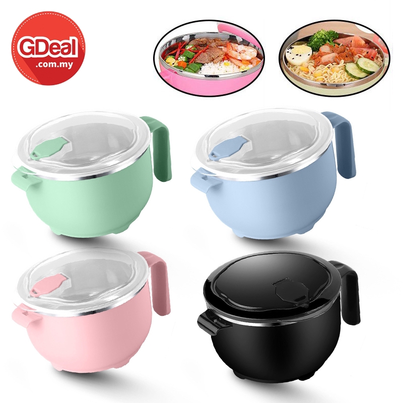 GDeal Germany 304 Stainless Steel Instant Noodle Bowl With Lid Office Student Lunch Box