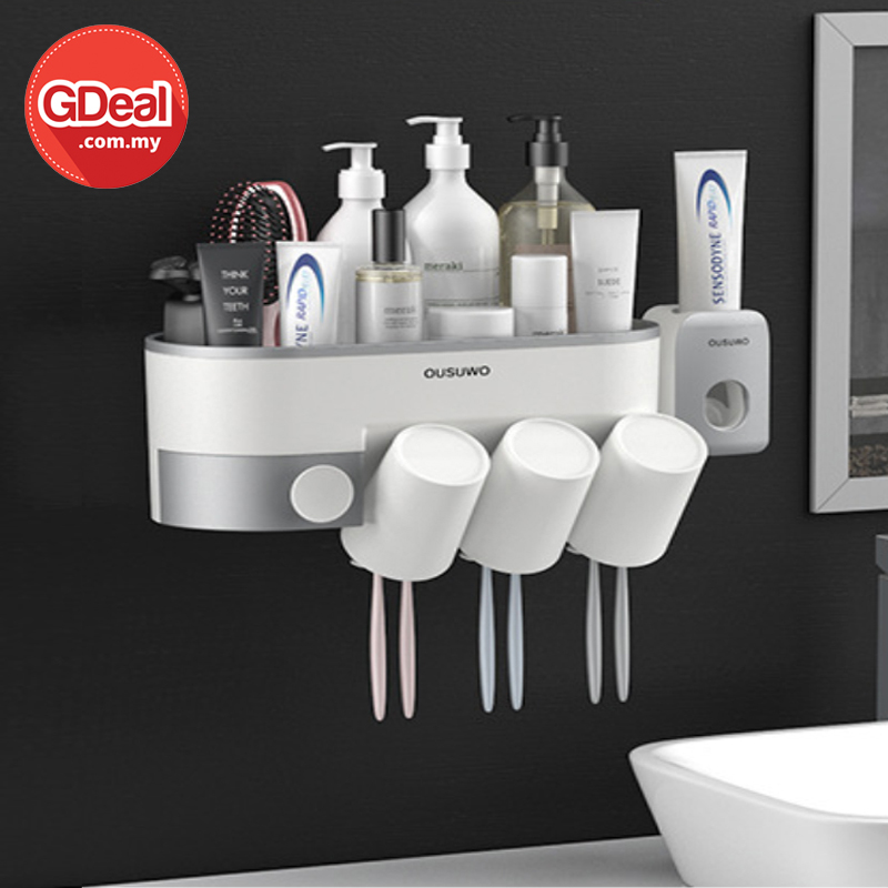 GDeal Multifunctional Wall Mounted Convenient Environmental Friendly Automatic Toothpaste Squeezer Toothbrush Rack