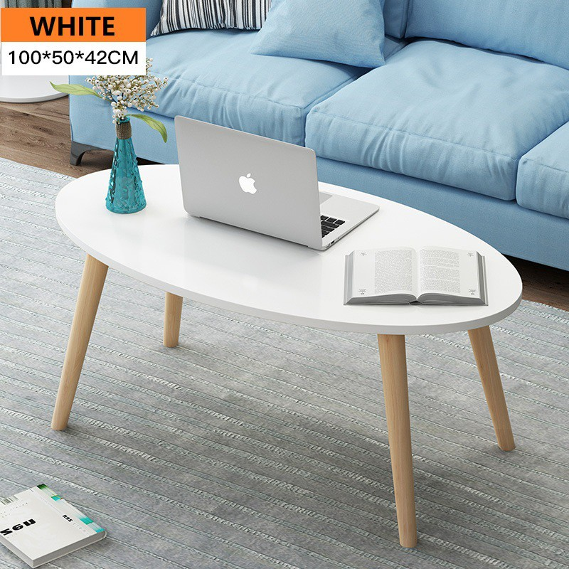 Oval Shape Wooden Coffee Table Living Room Table Shopee Malaysia