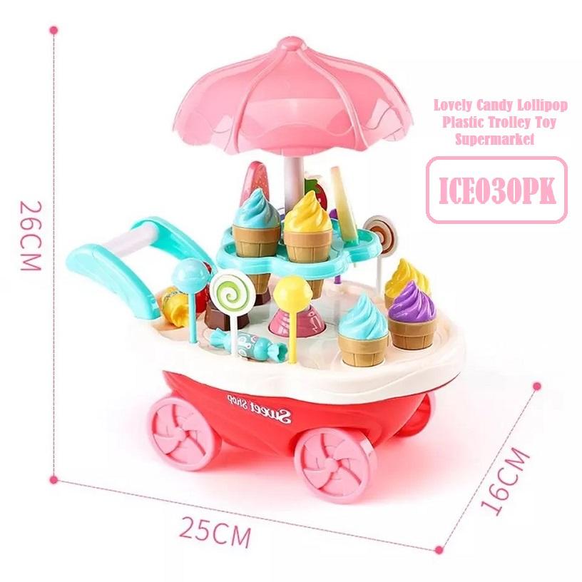 [ READY STOCK ]  Musical Ice Cream Trolley Pretend Play Set Toy Sound Light Kid Baby Rotation Jualan Murah Budak Mainan