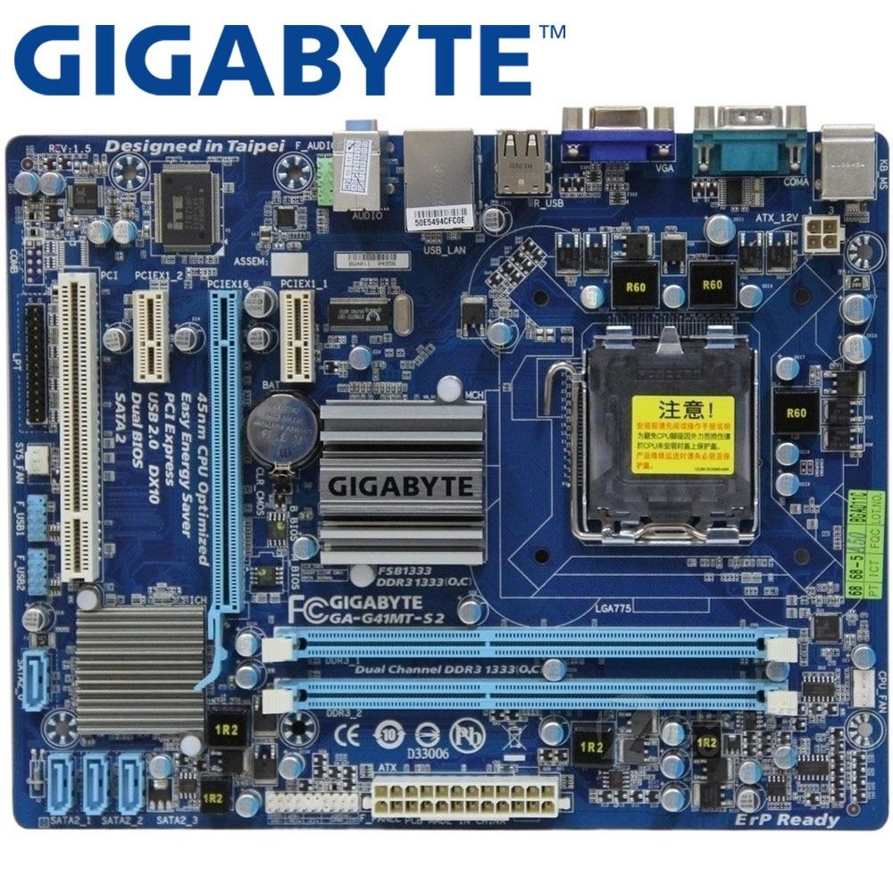 GIGABYTE GA-G41MT-S2 Desktop Motherboard G41 Socket LGA 775 For Core 2 DDR3  8G Micro ATX Original G41MT-S2 Mainboard