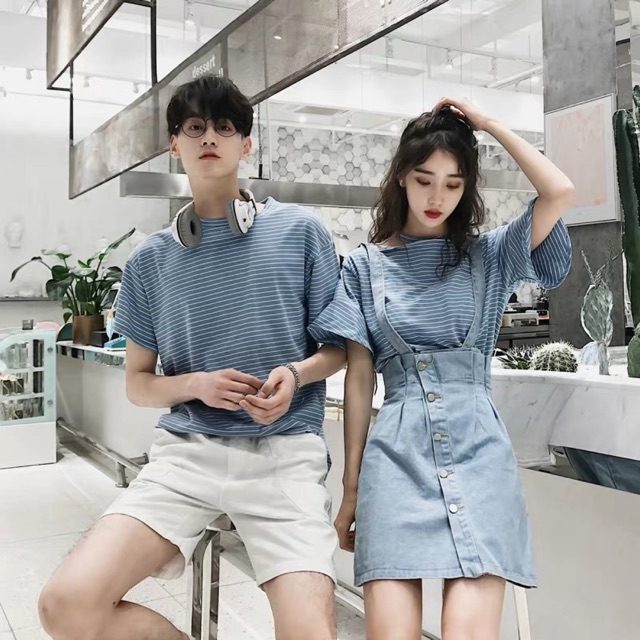 [S~3XL]Couple Set Korean Summer Plaid T Shirt or Jumpsuit 时髦情侣装两件套夏装时尚荷叶袖条纹短袖T恤男女牛仔背带裙