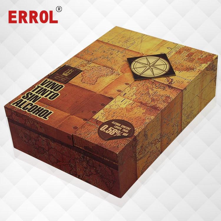 Gray Board Lined Satin Flip Wine Gift Box Double Wine Box Custom Plus Logo