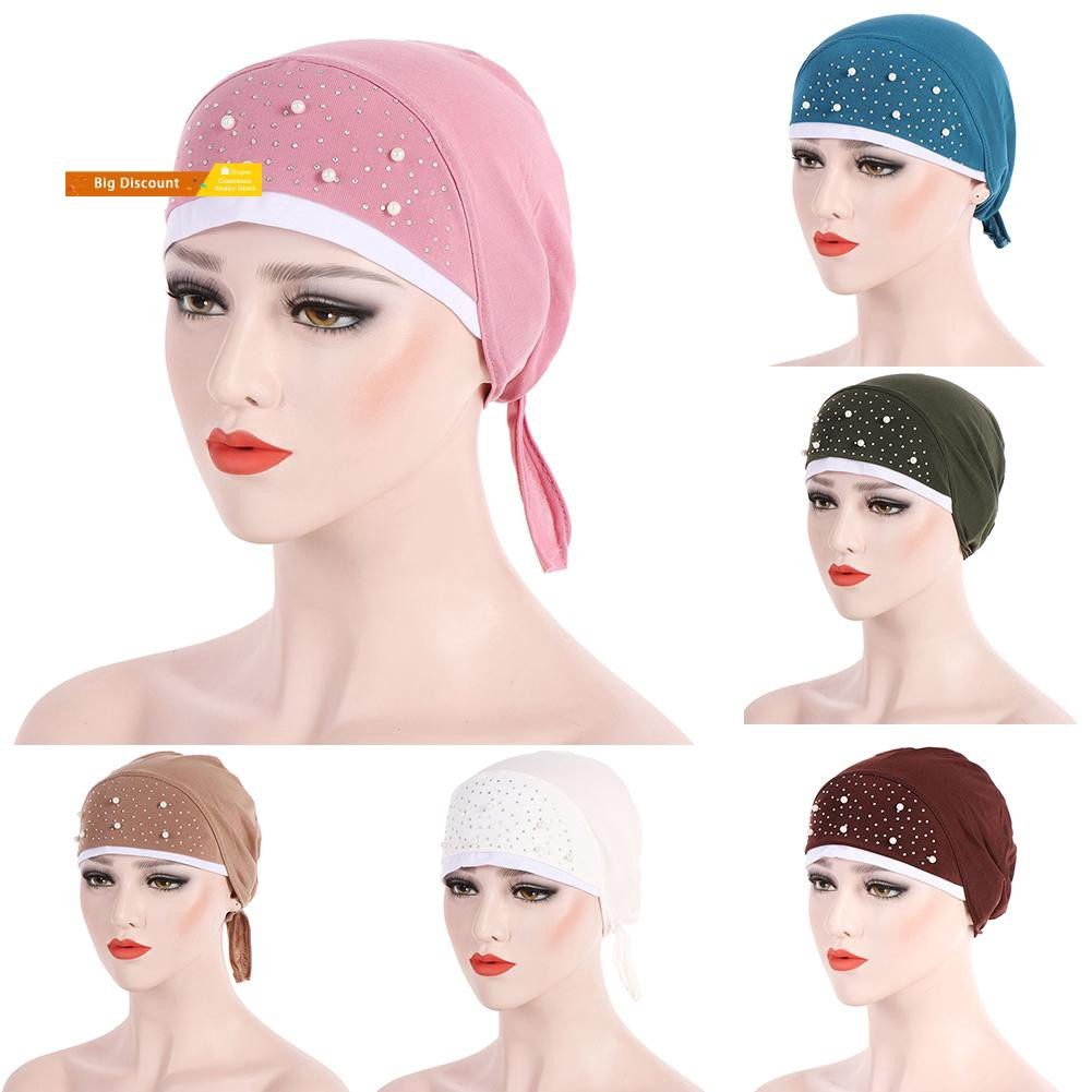 Fashion Bead Decor Back Tails Women Muslim Hijab Turban Head Wrap Hat  Beanie Cap