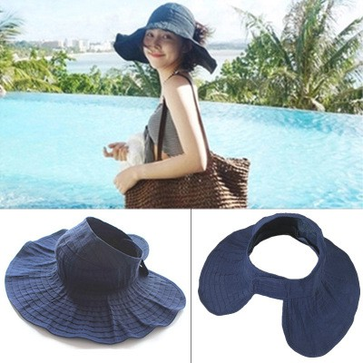 a054131459c3b7 Summer Sunscreen Anti UV Beach Empty-top Hat Korean Outdoor Sun Hat Folding