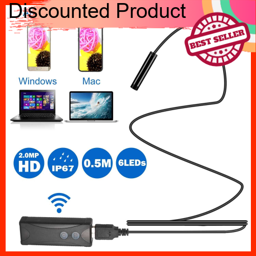Great Discount Wireless Endoscope Camera WiFi Borescope Inspection 7mm 2.0MP HD Waterproof Inspection Snake Camera Comp