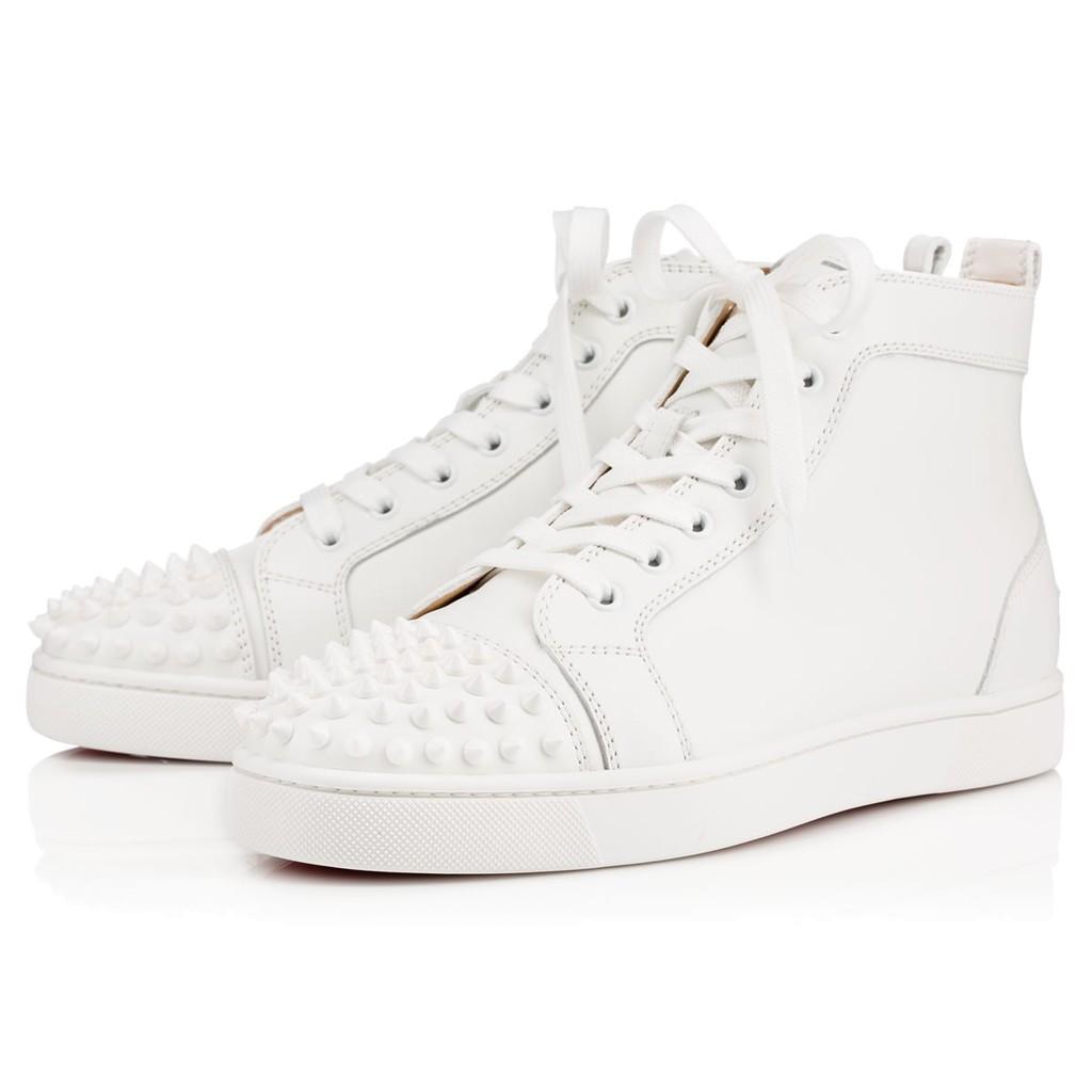 40e6cb88dc6 Christian Louboutin CL Louis Spikes Men s Flat Poivre Vert leather 09W  Sneakers
