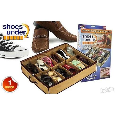 MALAYSIA SA: 12 SLOT BEG KASUT / 12 Grid Transparent Dust Proof Shoe Box/ BEG BAJU DALAM/ BEG PAKAIAN DALAM