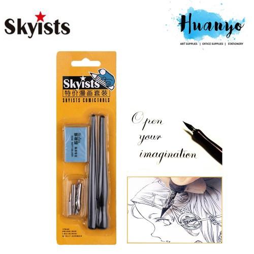 Manga Dip Pen Holder Set Comic Drawing Painting Calligraphy Tools w// 5 Nibs