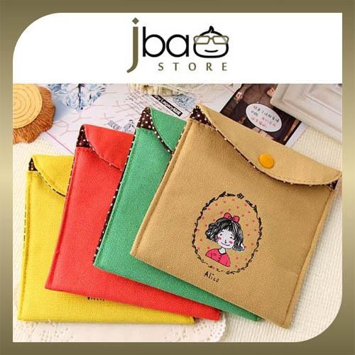 Retro Childhood Fabric Sanitary Napkin Pad Bag / Storage / Pouch