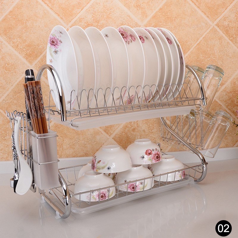 READY STOCK Kitchenwise Dishes Rack High Quality Rak Piring Double Layer S Dish Drainer pinggan mangkuk one tray