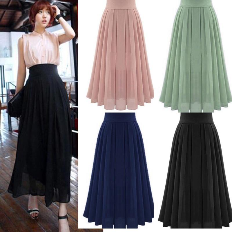 e3429653ed Chiffon Floral Print Pleated Skirt 2019 New Waist Was Thin Dress | Shopee  Malaysia
