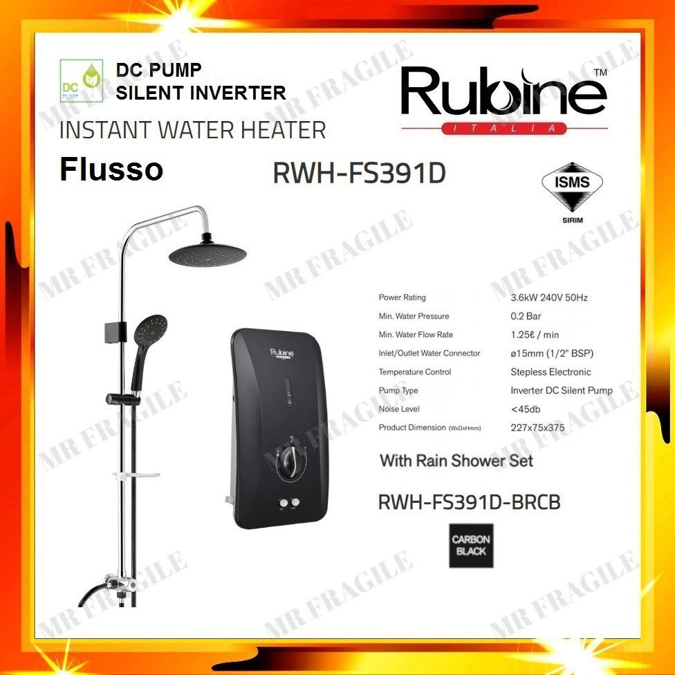 RUBINE RWH-FS391D-BRCB (BLACK) Rain Shower Silent Inverter DC PUMP Instant Water Heater