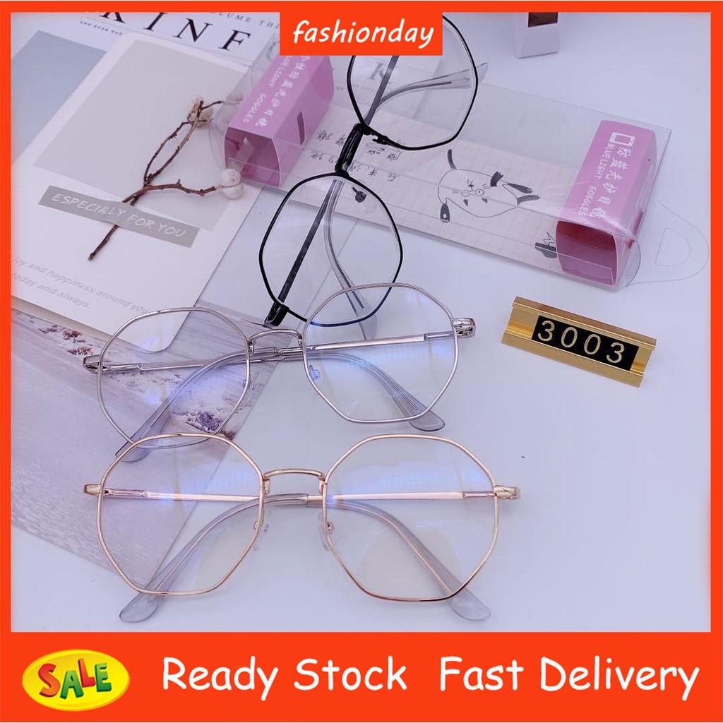 Anti-Blue Light Eyeglasses Retro Octagonal Glasses Frame Personality  Polygon Round Glasses Clear Lens